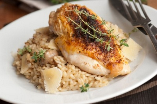 broiled chicken Broiled Chicken with Parmesan Risotto