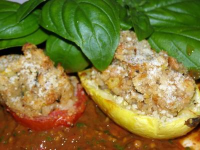 <FONT COLOR=#800000><B>My Italian Stuffed Vegetables In Home Roasted Spicy Marinara Sauce</B></FONT>
