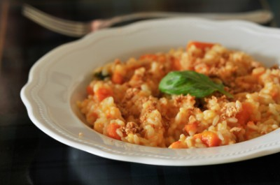 Risotto With Tomato, Basil And Mozzarella Recipe — Dishmaps