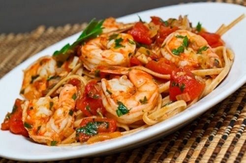 Grilled Shrimp with Pasta and Fresh Tomatoes